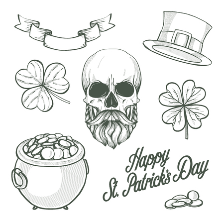 Sketch set for Saint Patricks Day, pot of gold coins, leprechauns skull with beard and mustaches, hat of a leprechaun, ribbon, clover leaf and lettering