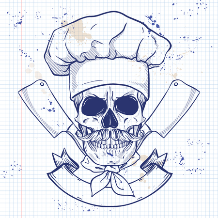 Hand drawn sketch, skull with cooks knife, cooks hat and mustaches on a notebook page