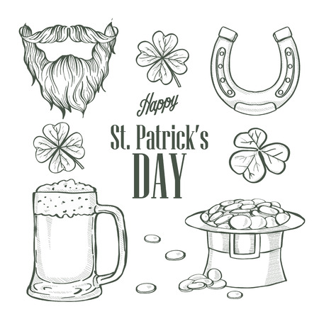 Sketch set for Saint Patricks Day, hat of a leprechaun, glass of beer, beard and mustaches, horseshoe, clover leaf, lettering Illustration
