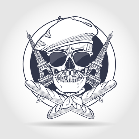 Sketch, french skull Vectores