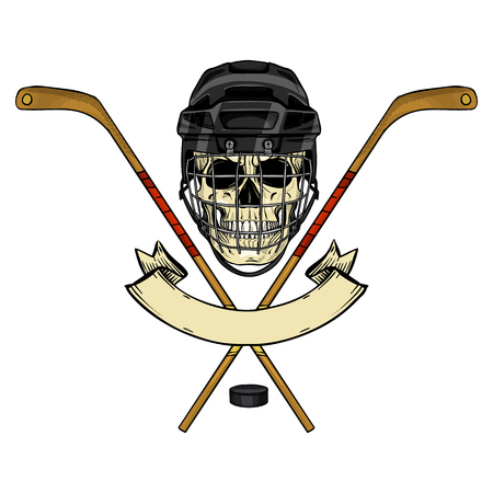 Hand drawn sketch, color skull with hockey helmet with protection grid, stick and puck Illustration