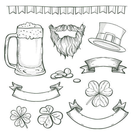 Sketch set for Saint Patricks Day, beard and mustaches, glass of beer, ribbons, clover leaf, hat of a leprechaun, ribbons