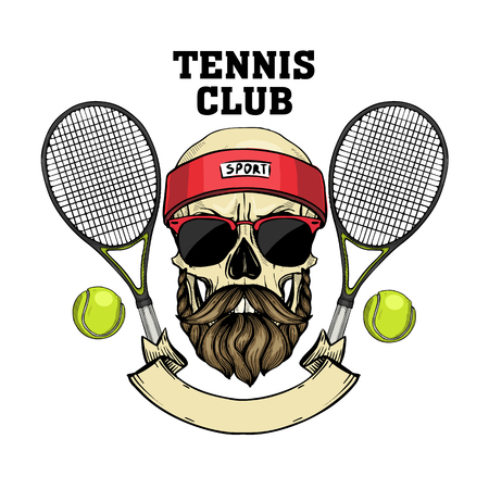 Hand drawn sketch, color skull with tennis racquets, tennis balls, sweat band, mustaches, beard and sunglasses Vectores