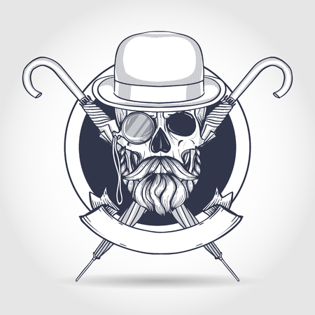 Sketch of british skull with hat bowler and mustaches, rimless eyeglasses, pocket watch and umbrella