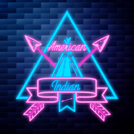 Vintage american indian emblem glowing neon sign on brick wall background