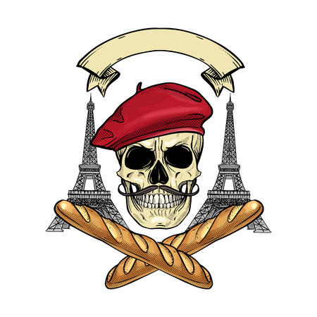 Hand drawn sketch, color french skull with beret, bread, The Eiffel Tower and mustaches