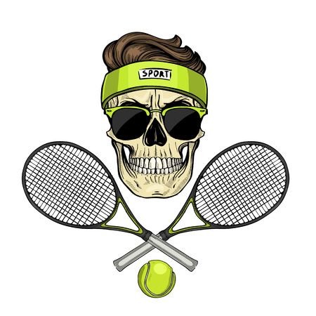 Hand drawn sketch, color skull with tennis racquet, tennis ball, sweat band and sunglasses