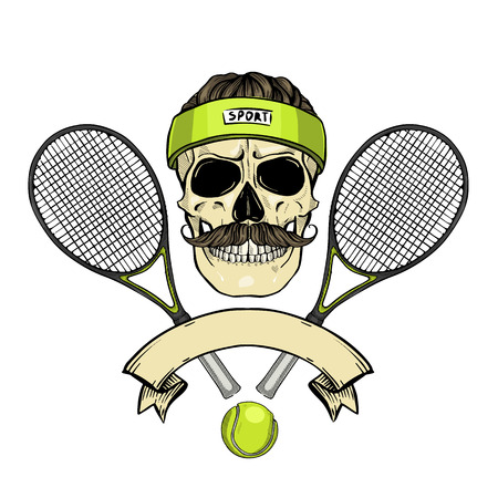 Hand drawn sketch, color skull with tennis racquets, tennis balls, sweat band, mustaches