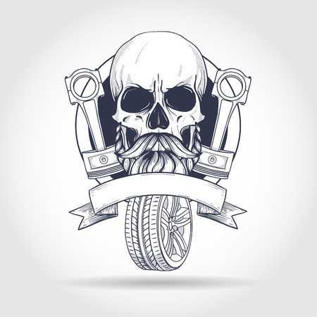 Hand drawn sketch, skull with piston and wheel, beard and mustaches