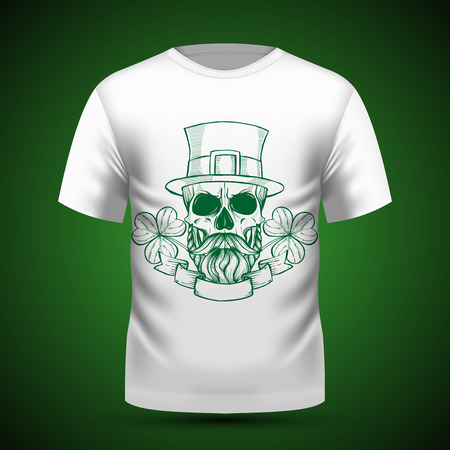 Line art, handdrawn angry skull of leprechaun with beard hat and clover leaves and a ribbon, St.Patrick s Day