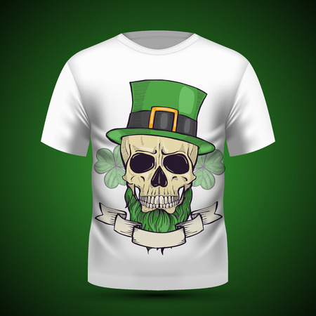 Color handdrawn angry skull of leprechaun with beard hat and clover leaves and a ribbon Illustration
