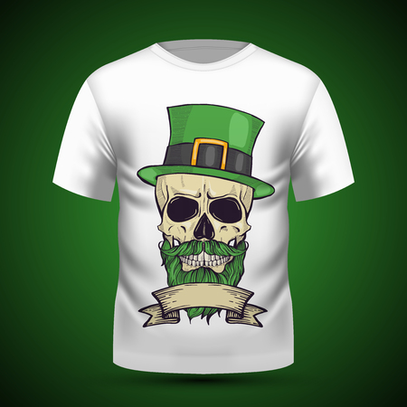 Color handdrawn skull of leprechaun with mustache, beard hat and clover leaves and a ribbon Illustration