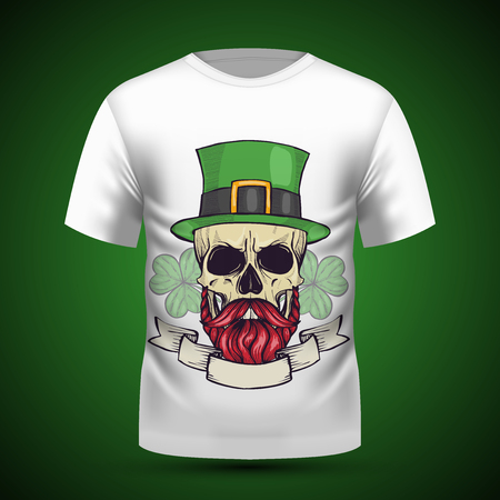 Color handdrawn angry skull of leprechaun with mustache, beard hat and clover leaves Illustration
