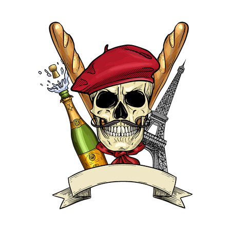 Hand drawn sketch, color french skull with beret, bread baguette, The Eiffel Tower, bottle of exploding champagne and mistaches Banco de Imagens - 124605373
