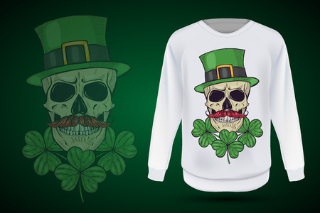 974042862 Color handdrawn skull of leprechaun with mustache, beard hat and clover  leaves and a ribbon