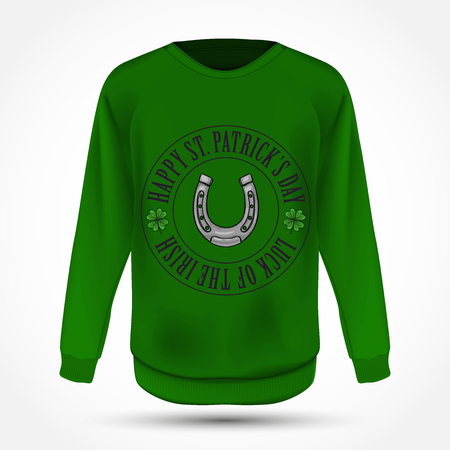 Lettring for Saint Patricks Day on jumper. Vector illustration, EPS 10