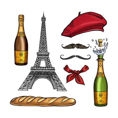 Hand drawn sketch, color set french attributes. Beret, The Eiffel Tower, bottle of champagne, bread baguette, neck scarf and mustaches Illustration