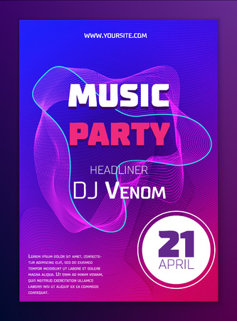 Music poster. Dynamic gradient shape and line. Vector illustration EPS 10 Vettoriali