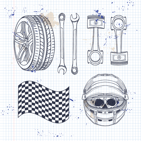 Hand drawn sketch, racer helmet on a notebook page