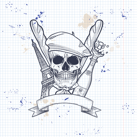 Sketch, french skull with beret, bread, The Eiffel Tower, bottle of exploding champagne and mistaches on a notebook page