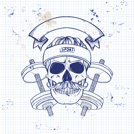 Hand drawn sketch, sport skull with dumbbells, sweat band and mustaches on a notebook page
