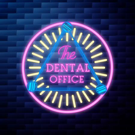 Vintage dental emblem glowing neon sign on brick wall background