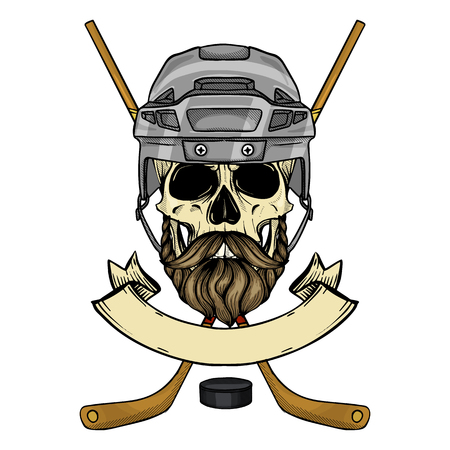 Hand drawn sketch, color hockey player skull with hockey helmet, stick, puck, mustaches and beard