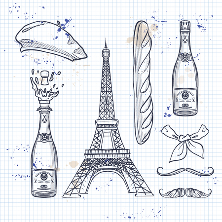 Sketch, set french attributes. Beret, The Eiffel Tower, bottle of champagne, bread, neck scarf and mustaches on a notebook page Illustration