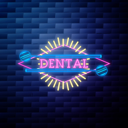 Vintage dental emblem glowing neon sign on brick wall background Stock Vector - 124569315