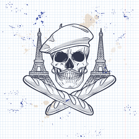 Sketch, french skull with beret, bread, The Eiffel Tower and mustaches on a notebook page Illustration