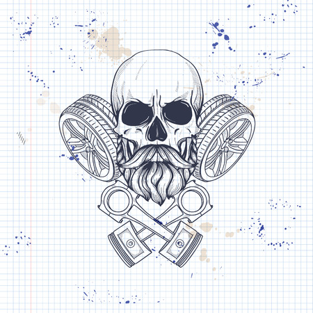 Hand drawn sketch, racer skull with piston and wheel, beard and mustaches on a notebook page  イラスト・ベクター素材