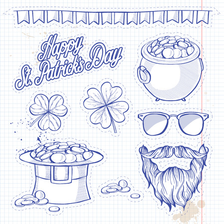 Stickers set for Saint Patricks Day, string of flags, pot of gold coins, beard with mustaches, sunglasses, hat of a leprechaun, clover leaf and lettering. Notebook background