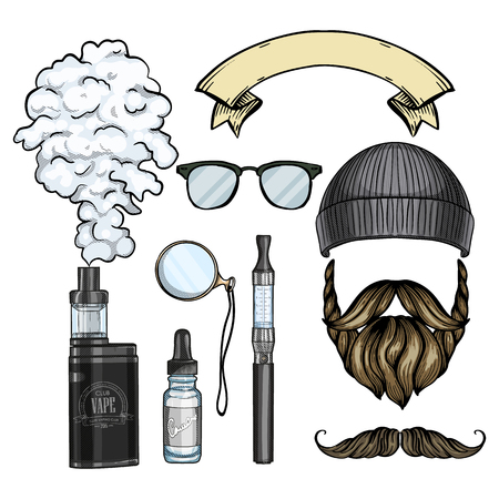Color hipster attributes - beard and mustaches, knited hat, electronic cigarette, vaporizer cigarette, liquid to fill
