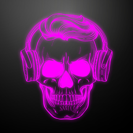 Angry skull with hairstyle and headphones. Vector illustration, EPS 10