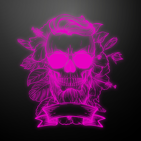 Angry skull with hairstyle, beard and sunglasses with flowers and ribbon. Vector illustration, EPS 10 Illustration
