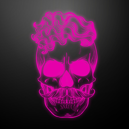 Angry skull with hairstyle and moustaches. Vector illustration, EPS 10