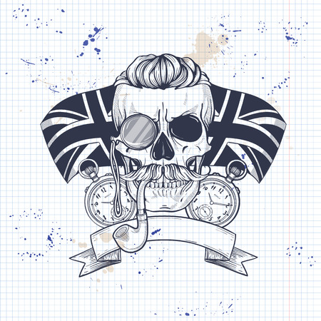 Sketch of british skull with mustaches, rimless eyeglasses, umbrella, pocket watch, british flag and tobacco pipe on a notebook page