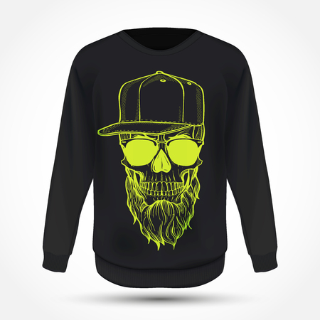 Angry skull with beard, hat and sunglasses on jumper . Vector illustration, EPS 10 Illustration
