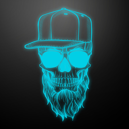 Angry skull with beard, hat and sunglasses. Vector illustration, EPS 10