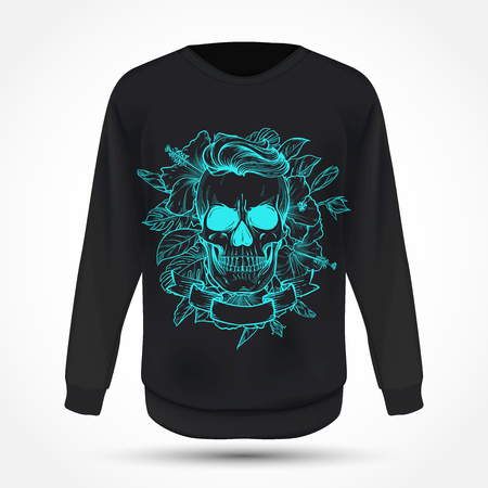 Angry skull with hairstyle with flowers and ribbon on jumper. Vector illustration, EPS 10 Illusztráció