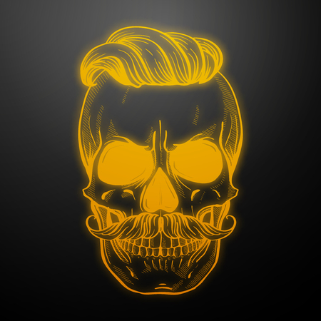 Angry skull with moustaches and hairstyle, line art. Vector illustration, EPS 10 Illustration