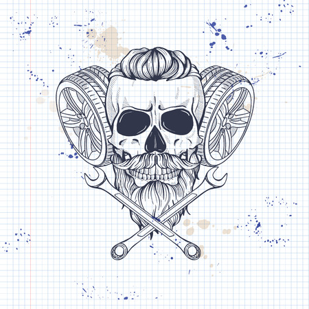 Hand drawn sketch, racer skull with wrench and wheel, beard and mustaches on a notebook page