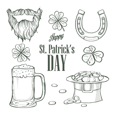 Sketch set for Saint Patricks Day, hat of a leprechaun, glass of beer, beard and mustaches, horseshoe, clover leaf, lettering Stock Illustratie