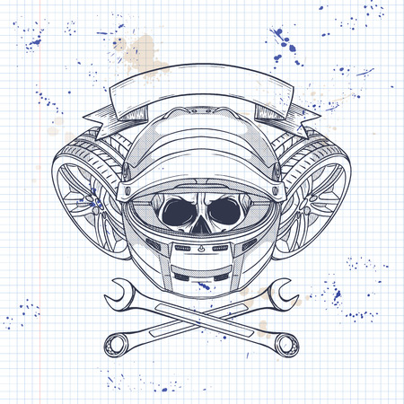 Hand drawn sketch, racer skull with helmet, wrench and wheel on a notebook page  イラスト・ベクター素材