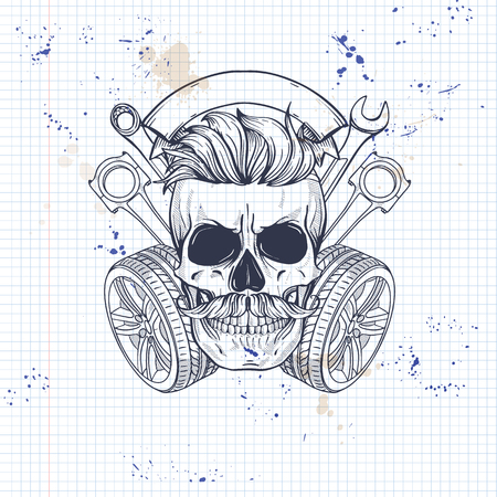 Hand drawn sketch, racer with wrench, piston, wheel and mustaches on a notebook page