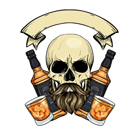 Hand drawn sketch, color barman skull with beard and mustaches, whiskey bottle and glass Ilustracja