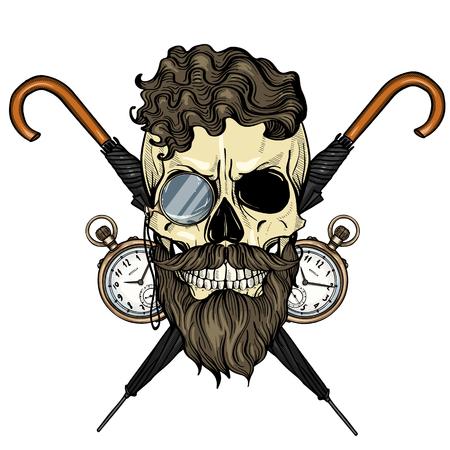 Cráneo británico de color con peinado, barba y bigotes, anteojos sin montura, paraguas y reloj de bolsillo
