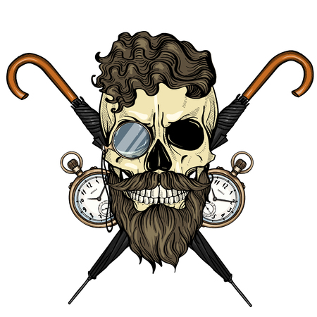 Color british skull with hairstyle, beard and mustaches, rimless eyeglasses, umbrella and pocket watch