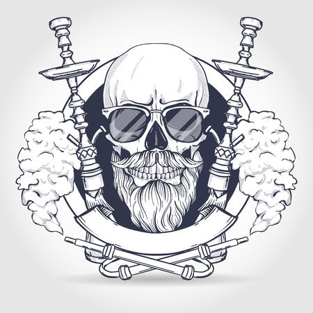 Dibujo de calavera hipster con barba y bigotes, cachimba, gafas de sol y nubes de humo Ilustración de vector