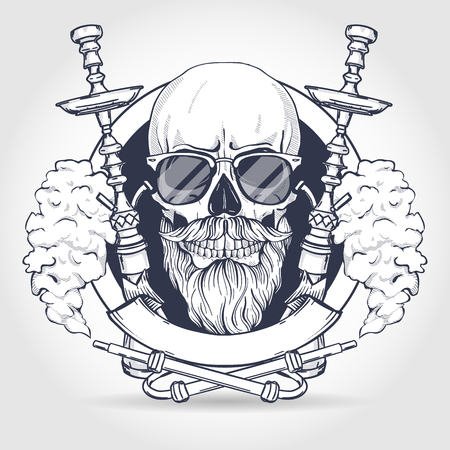 Sketch of hipster skull with beard and mustaches, hookah, sunglasses and clouds of smoke